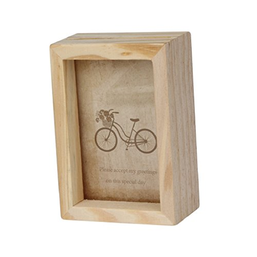 Overdose Home Decor Natur Holz Hochformat stehend Bilderrahmen 7,6cm/12,7cm, holz, Burlywood, 9.3*6.5*3.2CM/3.66*2.55*1.25 Inch