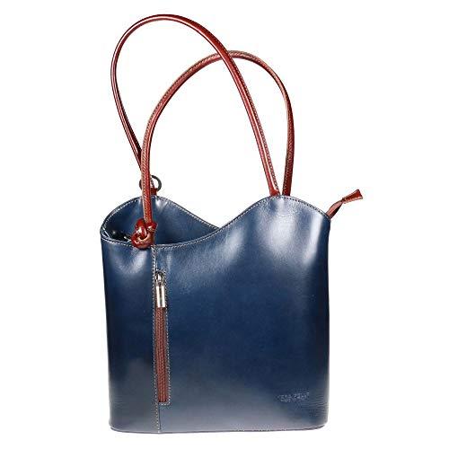 LiaTalia Damen großartige weiche italienische Leder Piping Detail Schulter oder Rucksack Tasche mit Schutztasche - Libby z** (Nicht Piping) - Navy - Brauner Schnitt (Promi-schnitte)