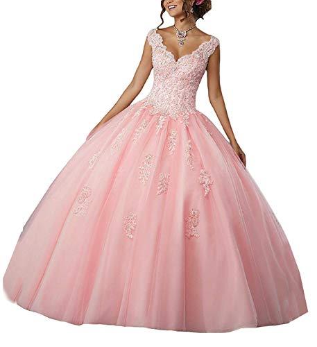 Carnivalprom Damen V-Ausschnitt Quinceanera Kleider Mit Spitze Abendkleider Lang Hochzeitskleider Elegant Ballkleid(Hellrosa,44) Quinceanera Kleid