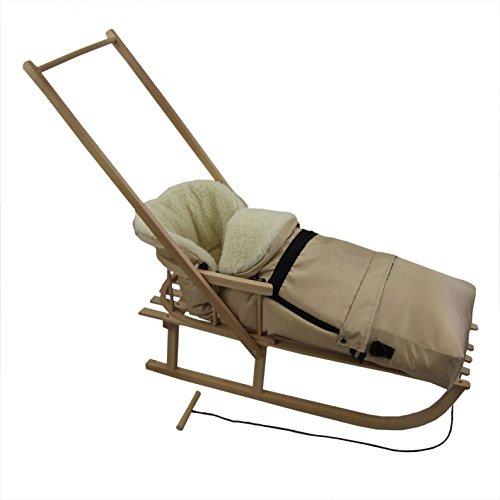 Rawstyle *KOMBIPAKET* SCHIEBESCHLITTEN mit Rückenlehne incl. Zugleine + WINTERFUSSSACK 3 in 1 aus Lammwolle für Kinderwagen - Lehne - Kinderschlitten - Schlitten aus Holz (Cappuccino)
