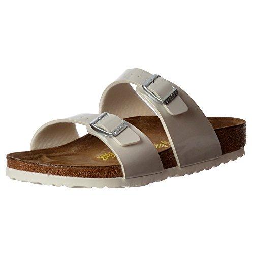 Sandalo Infradito Di Birkenstock Femminile Sydney - Birkoflor Doppia Regolabile Fibbia- Uk7 - Eu40 - Us9 - Au8 Bianco Perlato