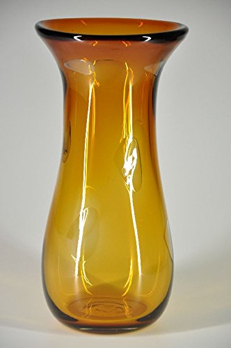 Glasfeld Glass Vase, Large Heavy Duty Floor Vase Amber Murano Style, Hand-made