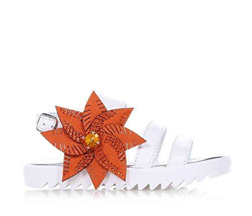 SAUSALITA - Sandalo bianco, in pelle, con chiusura con fibbia, grande fiore arancione decorativo, suola carro armato, donna, ragazza, Bambina-24