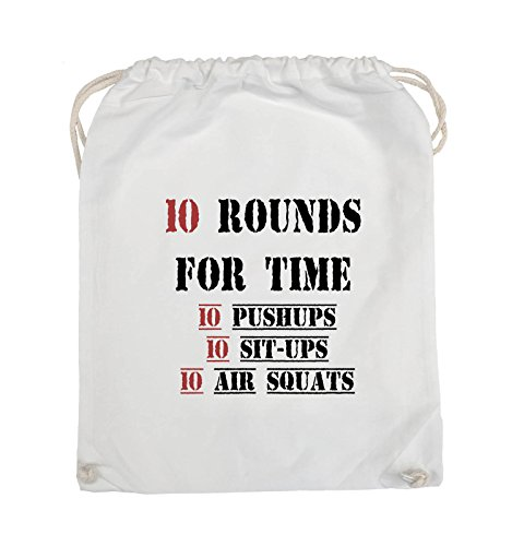 Comedy Bags - 10 Rounds for time 10 pushups 10 sit ups 10 air squats - Turnbeutel - 37x46cm - Farbe: Schwarz / Weiss-Neongrün Weiss / Schwarz-Rot