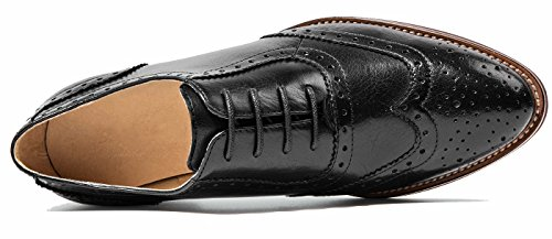 SimpleC Femme Plat Vintage Nubuck Oxfords à Lacets Derbies Comfy Bureau Chaussures en cuir Noir-1