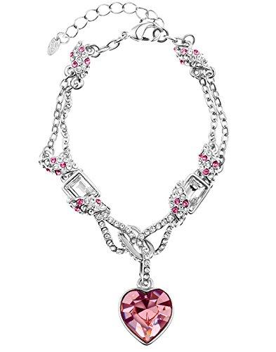 Neoglory Jewellery mit Swarovski® Elements Armkette Herz Pink