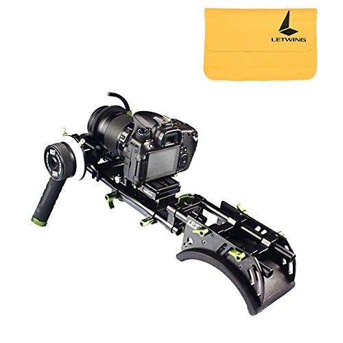 LanParte DHR-01 Kit de Système 15mm DSLR Rig avec Support Epaule + Baseplate + Follow Focus + Deux Poignées + Bague d'Engrenage etc.