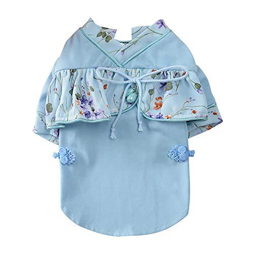 CYULING Hundekleidung, Pet Tang Dynasty Kostüm Small Pet Dog Kleidung Fashion Kostüm Puppy Cotton Blend Hoodie T-Shirt Bekleidung Sommer Atmungsaktive Haustier Hundekleidung für kleine Hunde,Blue,XS