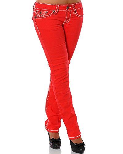 Damen Jeans Straight Leg (Gerades Bein Dicke Nähte Naht weitere Farben) No 12923 38 Rot Damen Bootcut-hose