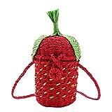 HHdstb Erdbeere Stroh Tasche Tote Frauen Obst Form Strand Handtaschen Handgemachte Vintage Woven Rattan Schulter Tasche -