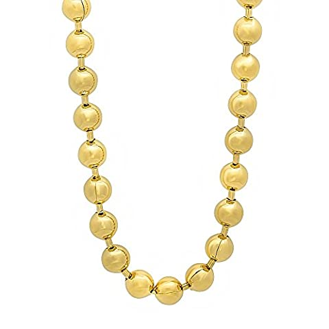 6.5mm 14k Gold Plated Ball Chain Necklace, 91 cm