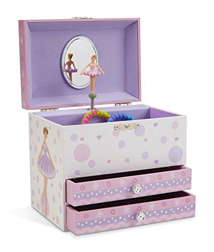 JewelKeeper - Weiß und Lila Ballerina Spieluhr Schmuckschatulle mit 2 Ausziehfächern - Schwanensee Melodie - Schmuck-box Musikalische