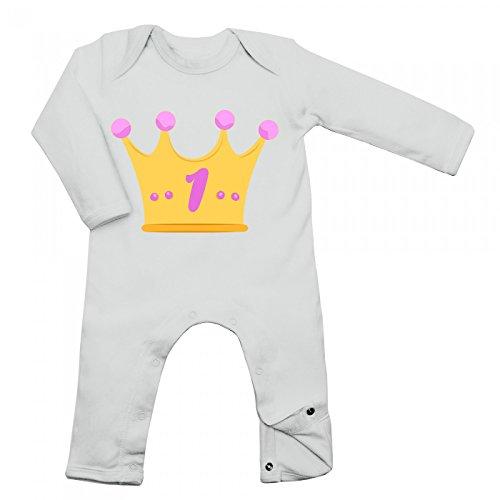 Kindergeburtstag 01 Babybody | Mädchen | Geburtstag | Krone | Langarm | Langärmliger Strampler, Farbe:Weiß (White BZ13);Größe:12-18 Monate (Happy Birthday-krone 13)
