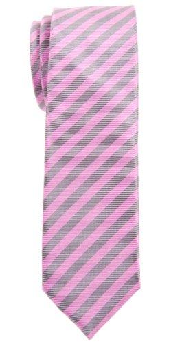 Retreez Herren Schmale Gewebte Krawatte Gestreifte 5 cm - rosa und grau