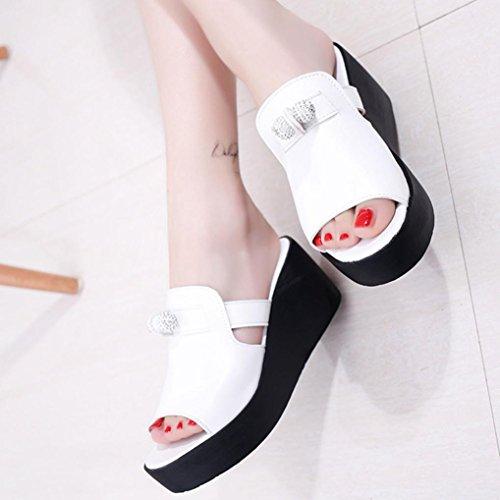 Webla Frauen Sommer Schuhe reine Farbe Fisch Mund Freizeit Joker Trifle Sandalen Damen Offene Sandalen mit Keilabsatz T-Spangen Weiß