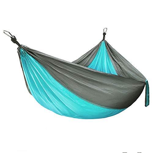 A-Qnice Ultraleichte Reise Camping Hängematte | Atmungsaktives, schnell trocknendes Fallschirm-Nylon | 2 x Hängemattenriemen und 2 x Stahlkarabiner (280 x 180 cm) für Outdoor Indoor (Farbe : Blau)