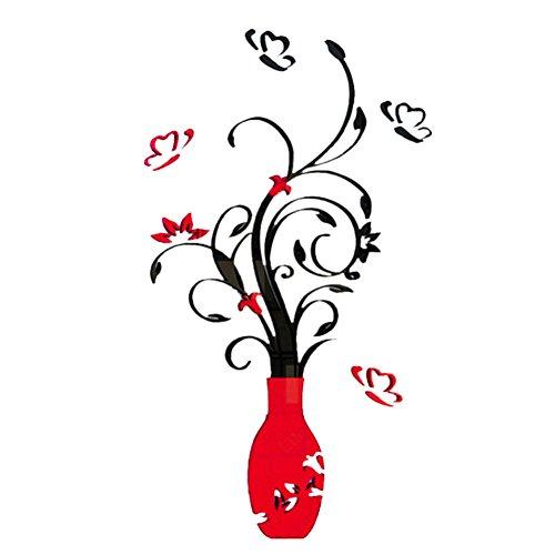 Demiawaking Schöne DIY Vase Blumen Baum Kristalle Acryl Wandaufkleber Abnehmbare Wandtattoo Aufkleber fuer Kinderzimmer, Wohnzimmer, Schlazimmer Haus Dekor (Rot)