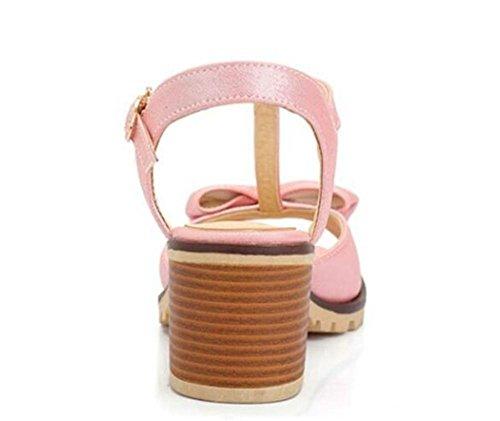 Zapatos De Punta Medio Peep Toe Rosa Sandalias De Tacón De Mariposa Dulce