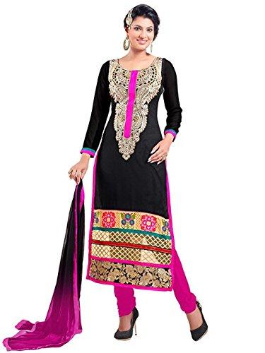 Vibes Women Georgette Salwar Suit Dress Material (V178-16003 _Black _Free Size)