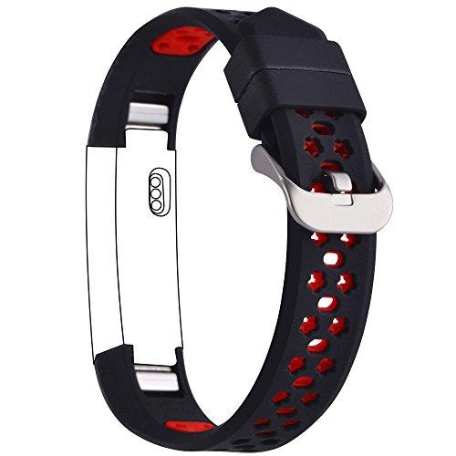 Preisvergleich Produktbild Greatfine Armband für Fitbit Alta Hr & Alta Classic Herzfrequenz Smart Watch Fitness Tracker Zubehör / Sport Fitness Ersatzschweißband Ersatzarmband (BlackRed)
