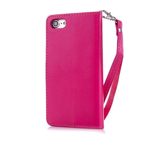 JIALUN-Telefon Fall Mit Kartensteckplatz, Lanyard, Druck Schöne Muster Mode Open Handy Shell Für IPhone7 ( Color : Pink , Size : IPhone 7 ) Red