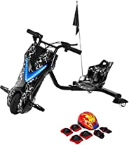 Toy&Joy Drifting Electric Scooter Black with Helmet Pad Set, Knee and Elbow Pads 36V, 27.3CBM,