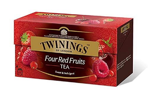Twinings Flavoured Tea - Four Red Fruits - Black Tea Flavored with Strawberry, Cherry, Red Currant and Raspberry - Soft Character and Sweet Flavor (25 Bags)