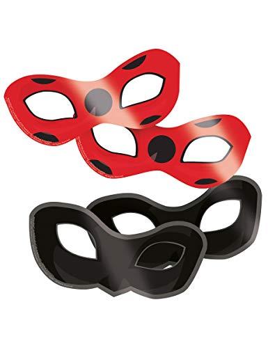 amscan Miraculous-Augenmasken 8 Stück schwarz-rot Einheitsgröße