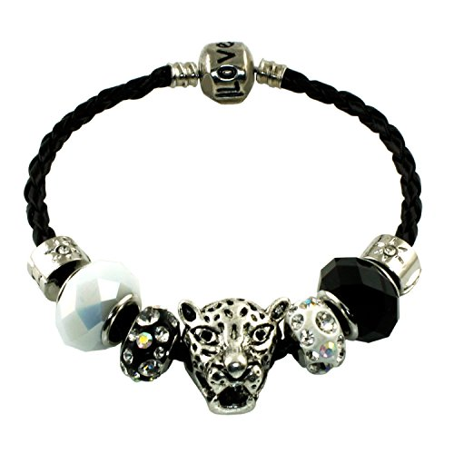 Gepard Leopard Korn Charme Schwarz Leder Seil Metall Legierung Armband (Schwarz-leder-armband-charme)