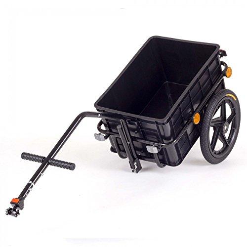 SAMAX Transportanhänger Fahrradanhänger Lastenanhänger Fahrrad Anhänger Handwagen mit Kunststoffwanne für 60 Kg / 70 Liter in Schwarz - 5
