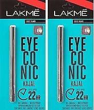 lakme kajal Eyeconic Kajal, Deep Black, 0.35 G (Pack Of...