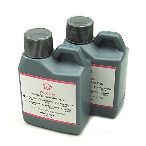 Coscelia 120ML 2PC Bouteilles Liquide Acrylique Professionnel Pour Nail Art Poudre Manucure