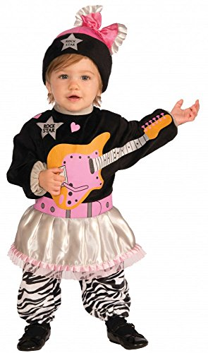 Jahre Kostüm Rock Star 80er (Li'l Rock Star 80er Jahre Mädchen Kostüm für Kleinkinder Kinderkostüm)