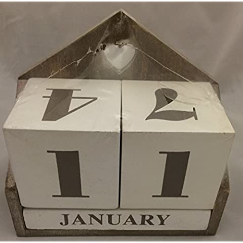 Crema bloque de madera Perpetuo Calendario de Shabby Chic Decoración del hogar