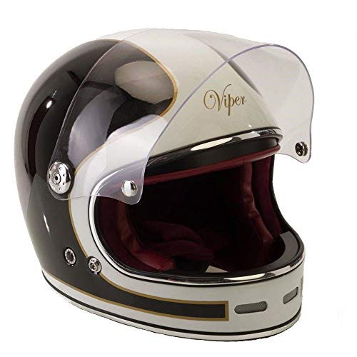 Viper F656vintage da moto casco integrale in fibra di vetro nero/bianco