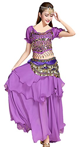 Damen Bauchtanz Kostüm Teilig 5 Tanzkleidung Indischen Set Festliche Vacation Geschenke Elegant Indian Dance Costumes Belly Dance Costumes Darbietungen Kleidung ( Color : Purple , Size : One Size )