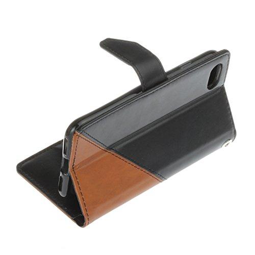 Voguecase® Pour Apple iPhone 7 4,7 Coque, Étui en cuir synthétique chic avec fonction support pratique pour Apple iPhone 7 4,7 (Marron-Noir)de Gratuit stylet l'écran aléatoire universelle Marron-Noir