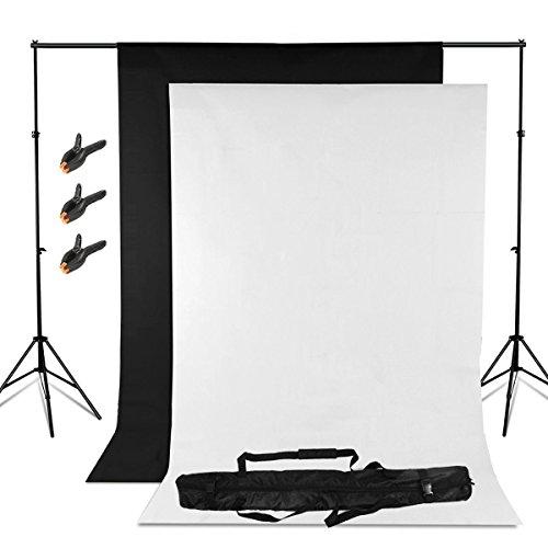 Fondale Fotografico Kit con Sfondo Supporto/Background Sfondi Di 1.6x3m Tessuto non tessuto Nero e Bianco/ Borsa per il trasporto per Studio Fotografico Professionale