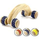Queta Natural Wooden Abdomen Roller Massager Curved Handle 4-Roller Manual Body Massager