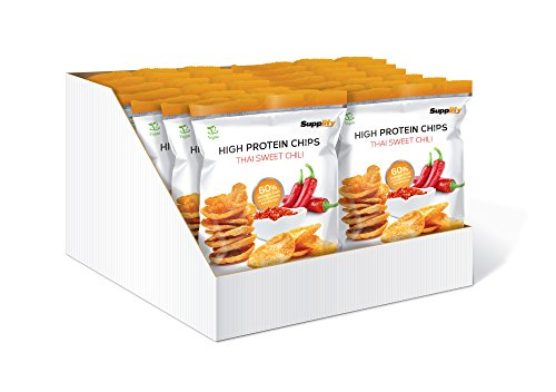 Supplify Protein Chips - Eiweiß Fitness Snack Mix Box, Whey Proteinpulver und Protein Riegel, ideal zum Abnehmen oder als Muskelaufbau Booster- 14x 50g, Thai Sweet Chili (vegan)