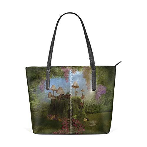 Mode Handtaschen Einkaufstasche Top Griff Umhängetaschen Mushroom House Forest Fairy Large Printed Shoulder Bags Handbag Pu Leather Top Handle Satchel Purse Lightweight Work Tote Bag For Women Girls