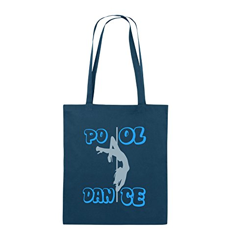 Comedy Bags - Pool dance - Jutebeutel - lange Henkel - 38x42cm - Farbe: Schwarz / Weiss-Neongrün Navy / Eisblau-Hellblau