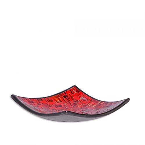Deko-Schale UBUD eckig mit Glas-Mosaiksteinen M 23x23cm Rot Handarbeit Bali -