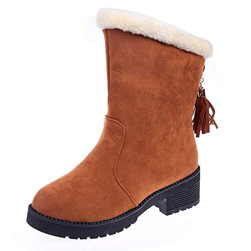 MYMYG Damen Schneeschuhe Warme Plüsch Gefüttert Frauen Slip-On Schuhe Schneestiefel Wildleder Quaste Stiefel Runde Zehe Warm halten Schuhe Winterstiefel Herbst Winter Freizeitschuhe