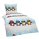 Dreamhome24 2 TLG Kinder Warme Kuschel Fleece Bettwäsche Einhorn Feuerwehrmann Pferd Pingin 135x200 80x80, Designe:Pinguin