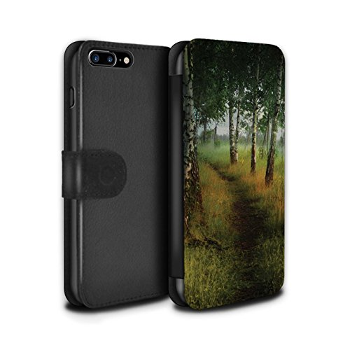 Officiel Elena Dudina Coque/Etui/Housse Cuir PU Case/Cover pour Apple iPhone 8 Plus / La Magie Tour Design / Fantaisie Paysage Collection Arbre/Sentier