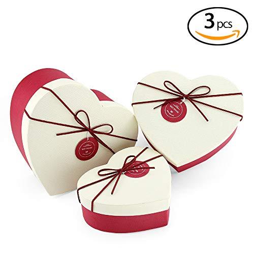 VEESUN Geschenkboxen 3 Set Verschiedene Größen, Luxus Präsentation Geschenkkarton mit Deckel, Dekorative Pappschachteln für Hochzeit Kindergeburtstag Geburtstagsgeschenk Freund sie, Rot Herzförmig