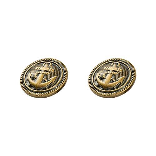 Geprägt Blazer (Metallknöpfe, Vintage-Stil, antikes Gold, Flache Oberfläche, für Blazer, Jacke, 12 Stück, Bronze, 25 mm)