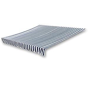 vidaXL Markisenstoff Sonnenschutz Markisentuch Blau & Weiß 4×3 m (ohne Rahmen)