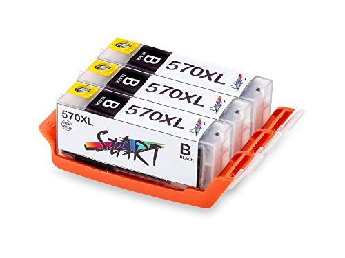 Nur Schwarz! 3 XL Ersatz Tintenpatronen kompatibel zu Canon PGI-570 PGBK PGI-570PGBK XL Schwarz, PGI 570 PG BK -